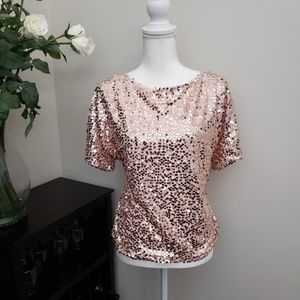 Tops - Vintage Sequin Rose Gold Short Sleeve Lined Top